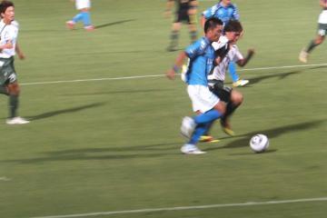 後半ロスタイム、藤田優がゴールライン際を突破してカイオのゴールをアシスト