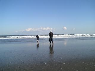 九十九里浜パパと娘2