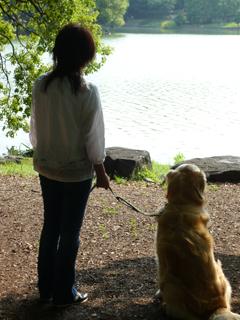 アトムとママ池を見る後姿