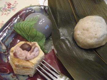 麩もちと水饅頭、金時餡生パイ