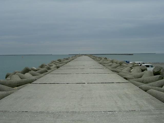 一本防波堤にはブロックがいっぱい