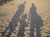 家族三人で記念撮影