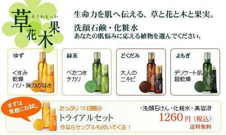 草花木果 肌タイプ別に4つの植物・・・【ゆず・緑茶・どくだみ・よもぎ】