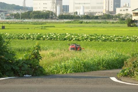 田んぼとトラクター