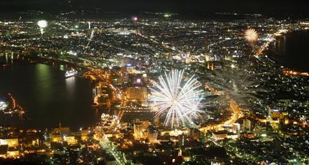 北海道函館市で開港150周年を記念し、市内各所から打ち上げられた花火