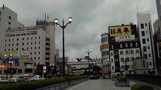 台風の近づく宇都宮駅