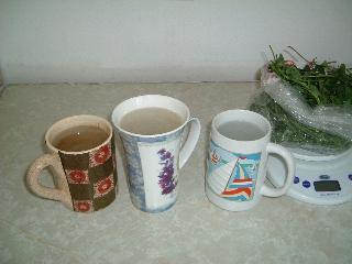 冷たい水のカップを3つ準備