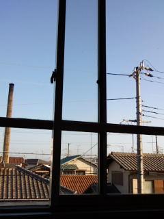 病院のベットから見える空