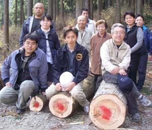 地元の木で家づくり、伐採式
