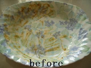 カレー皿の汚れ