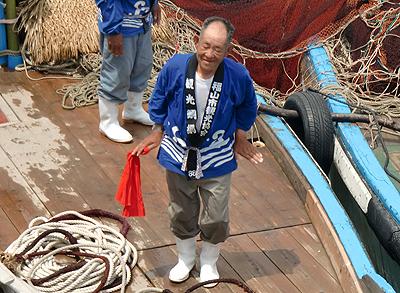 お茶目な漁師さん