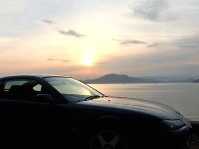 横島海岸線にて夕景とS15シルエット