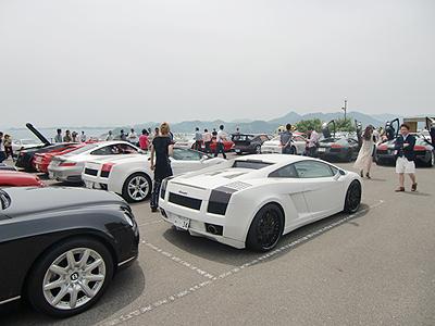 瀬戸田シトラスパーク駐車場にてスポーツカークラブミーテイング