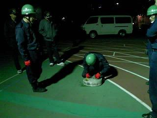 2番員のホースのベルト解除の練習