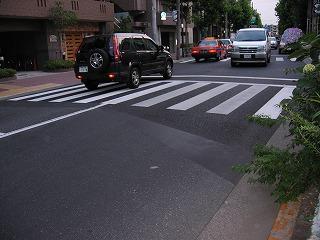 目白通りの振動相談2左と右の道路の色が違っている