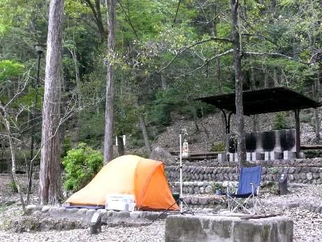 愛知県民の森に設営