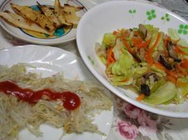 じゃがいも細切り、シンプル野菜炒め、焼きたけのこ