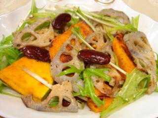 090131蓮根とかぼちゃの水菜サラダ