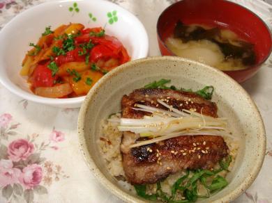 090207さんま蒲焼丼、ラタトゥイユ、味噌汁