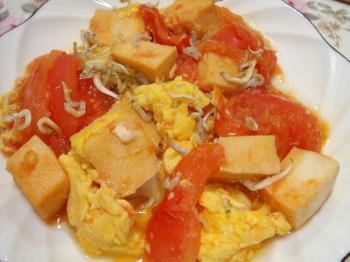 090209トマトと卵と高野豆腐とじゃこの炒め物
