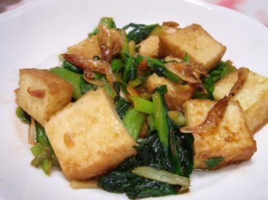 090214小松菜と厚揚げと干しえびのオイスター炒め
