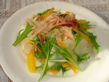 090504だいこん黄パプリカ水菜サラダ