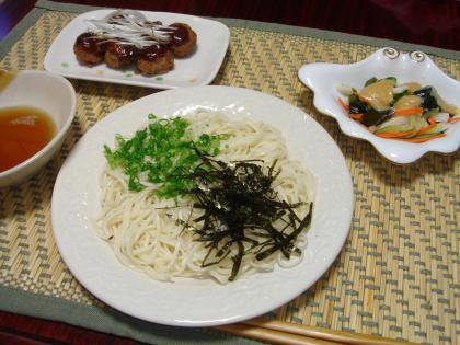 090726ひやむぎの夕飯