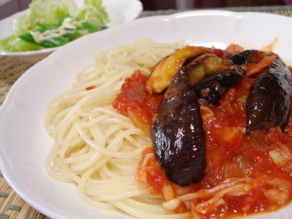090728ナスとベーコンのトマトソーススパゲッティ