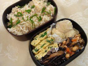 小松菜卵焼き、ひじき弁当