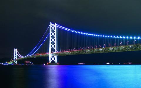 明石海峡大橋ライトアップ/アジュール舞子・舞子公園