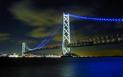 明石海峡大橋ライトアップ/松帆崎・松帆の浦