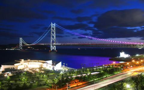 明石海峡大橋ライトアップ/舞子ビラ