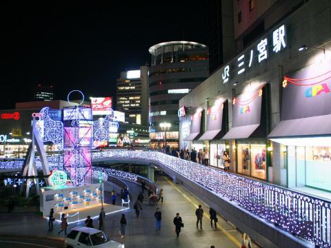 三ノ宮駅前のイルミネーション・光の回廊