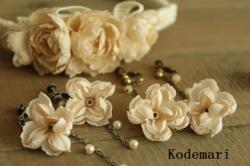 桜色布花イヤリング
