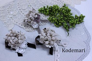 秋の布花コサージュ
