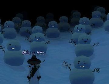 夜の雪だるまの墓