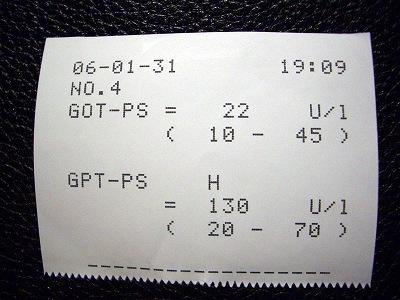 検査結果、GPTがあと少しで基準値内