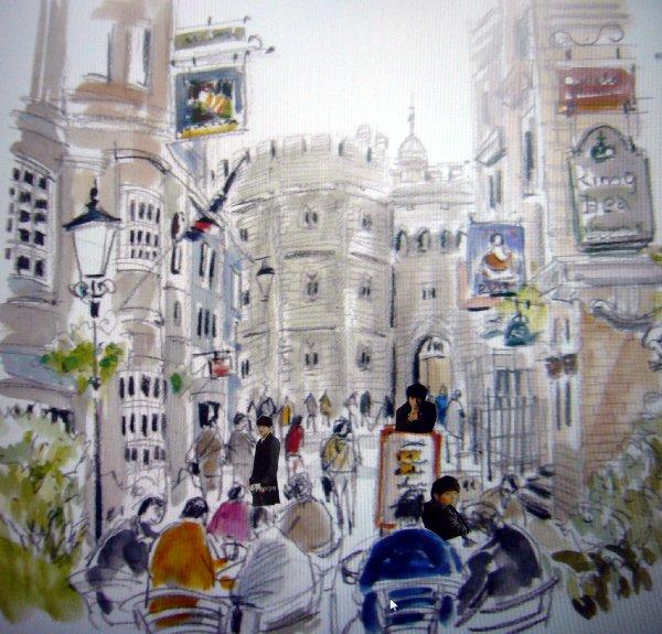 イギリス、ウインザー城前路地に集う観光客