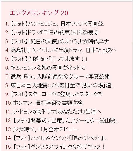 朝鮮日報エンタメランキング11位20111013