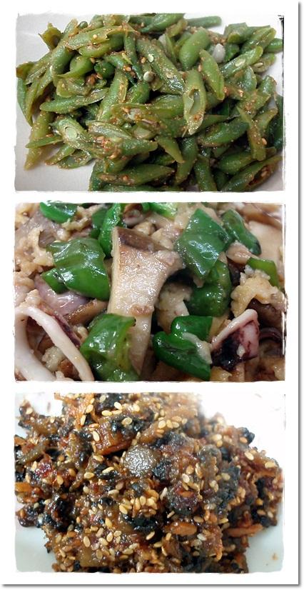 2011・8・20・胡麻和え&イカとピーマンのサッと煮&ゴウヤの佃煮
