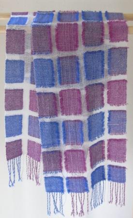 浮かし織りマフラー 青と紫