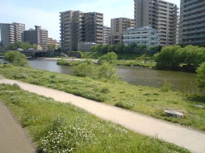 お店前の河原