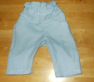 夫のシャツをリメイクしたズボン