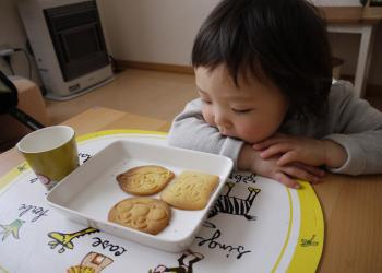 アンパンマンクッキー焼けたよ