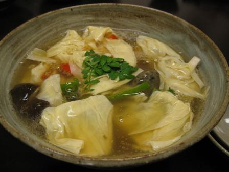 湯葉と野菜の炊き合わせ
