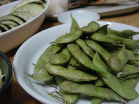 焼き茶豆と糠さんま