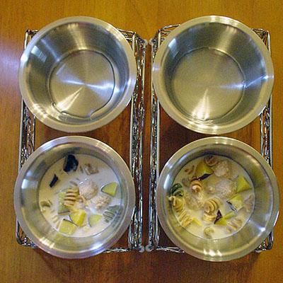 鶏団子と野菜パスタとさつまいものミルクスープ