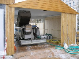 ベルクール公園の氷クリーニング車