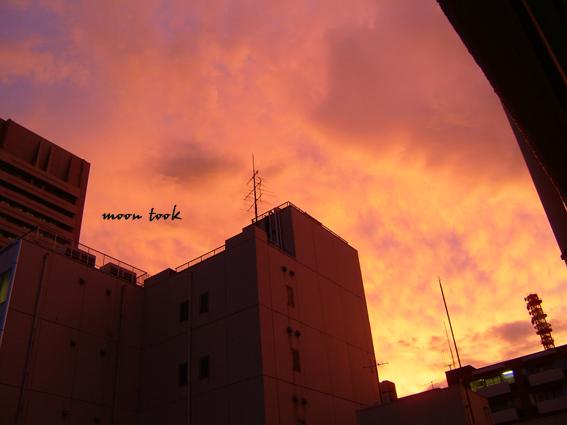 台風の後夕焼け