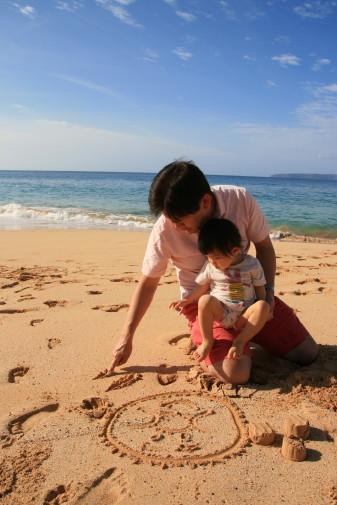 砂浜でお絵かき